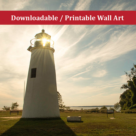 Turkey Point Lighthouse with Sun Flare Horizontal Landscape Photo DIY Wall Decor Instant Download Print - Printable