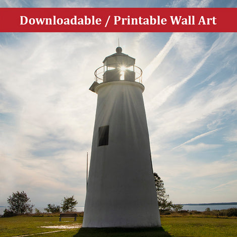 Turkey Point Lighthouse with Sun Flare Landscape Photo DIY Wall Decor Instant Download Print - Printable