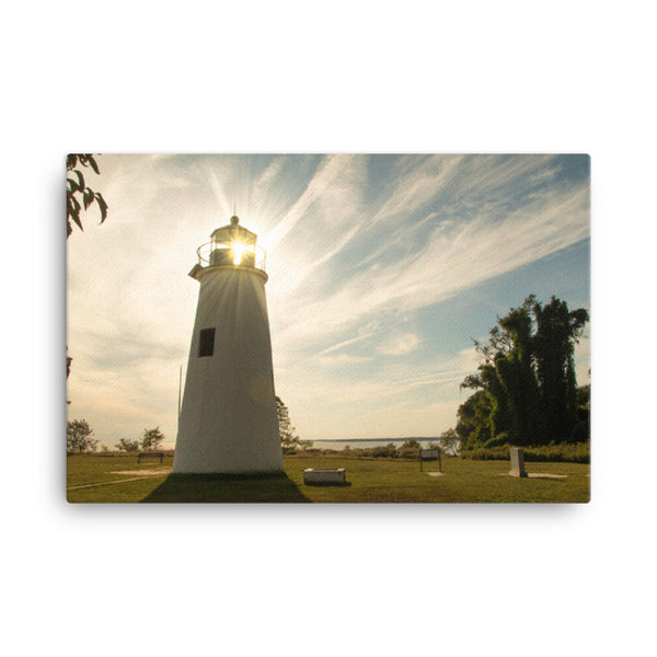 Turkey Point Lighthouse with Sun Flare Horizontal Canvas Wall Art Prints