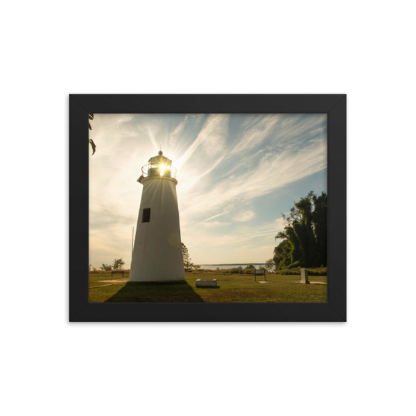 Turkey Point Lighthouse with Sun Flare Horizontal Framed Photo Paper Wall Art Prints  - PIPAFINEART