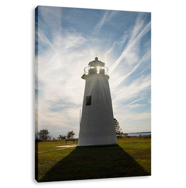 Turkey Point Lighthouse with Sun Flare Landscape Photograph Wall Art & Fine Art Prints - PIPAFINEART