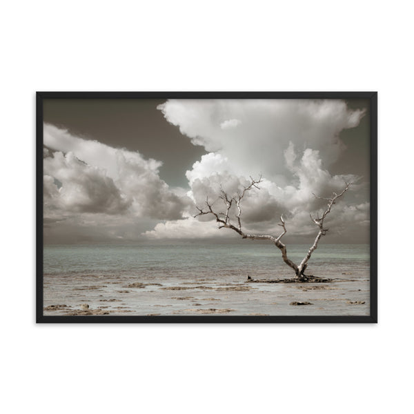 Wanderlust Aged and Colorized Coastal Landscape Photo Framed Wall Art Print  - PIPAFINEART
