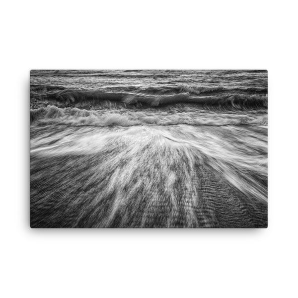 Washing Out to Sea Black and White Coastal Nature Canvas Wall Art Prints  - PIPAFINEART