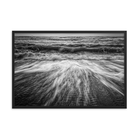 Washing Out to Sea Black and White Coastal Nature Photo Framed Wall Art Print