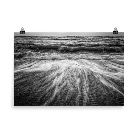Washing Out to Sea Black and White Coastal Nature Photo Loose Unframed Wall Art Prints