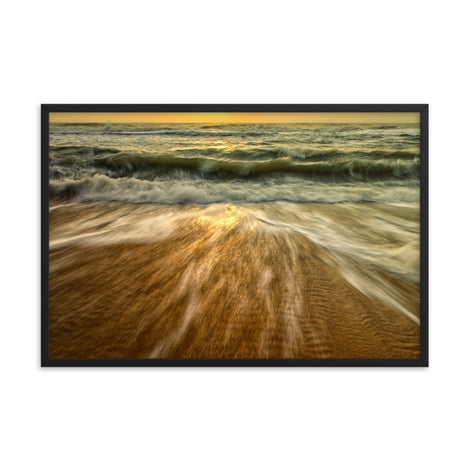 Washing Out to Sea Coastal Nature Photo Framed Wall Art Print