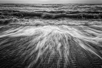 Washing Out to Sea in Black and White Coastal Nature Photo Fine Art Canvas Wall Art Prints  - PIPAFINEART