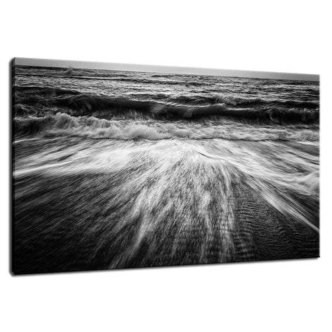 Washing Out to Sea in Black and White Coastal Nature Photo Fine Art Canvas Wall Art Prints