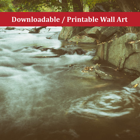 Water Swirl in the River Landscape Photo DIY Wall Decor Instant Download Print - Printable
