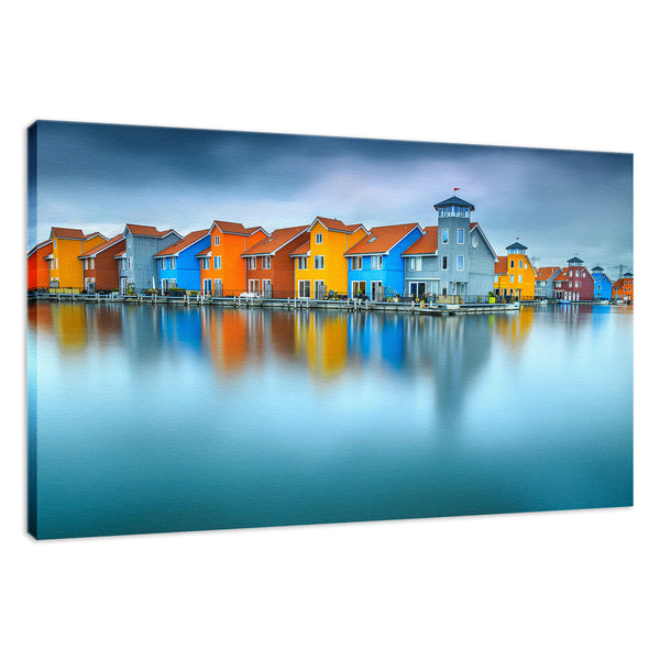 Blue Morning at Waters Edge Groningen Netherlands Europe Landscape Wall Art Canvas Prints