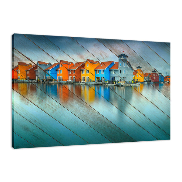 Faux Wood Blue Morning at Waters Edge Landscape Fine Art Canvas Wall Art Prints - Coastal / Beach / Shore / Seascape Landscape Scene