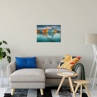 Faux Wood Blue Morning at Waters Edge Groningen Landscape Wall Art & Canvas Prints - PIPAFINEART