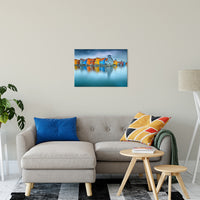 "20"" x 30"" Blue Morning at Waters Edge Groningen Netherlands Europe Landscape Wall Art Canvas Prints"