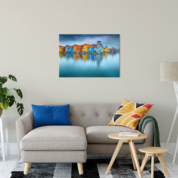 "Blue Morning at Waters Edge Groningen Netherlands Europe Landscape Wall Art Canvas Prints 24"" x 36"" - PIPAFINEART"