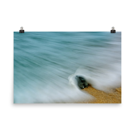 Whelk Seashell and Misty Wave Coastal Nature Photo Loose Unframed Wall Art Prints