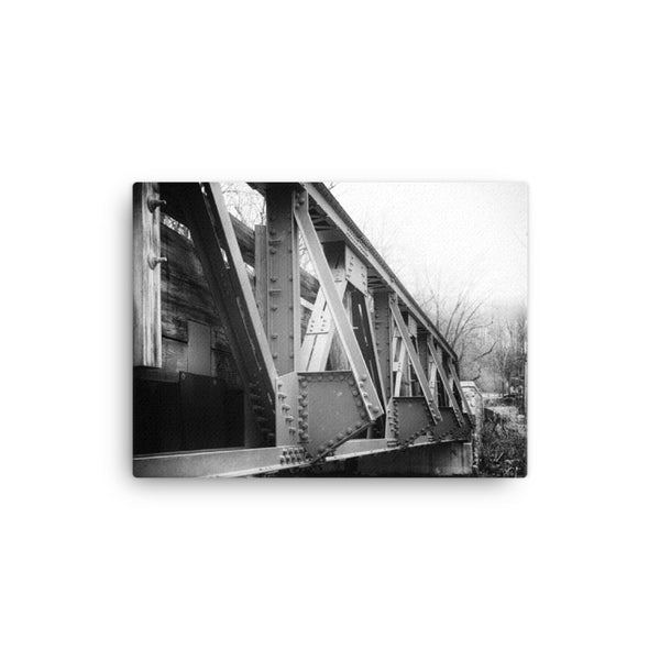White Clay Creek Bridge Black and White Rural Landscape Canvas Wall Art Prints  - PIPAFINEART