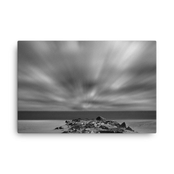 Windy Beach Black and White Coastal Landscape Canvas Wall Art Prints