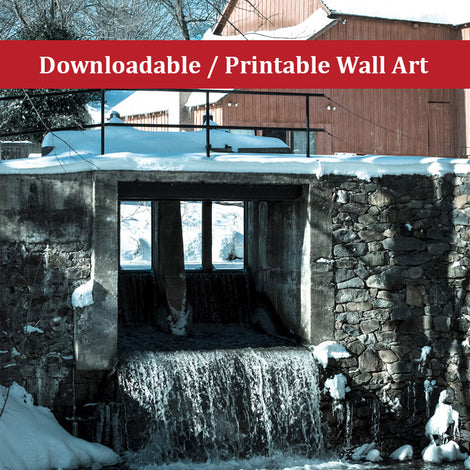 Winter Mill Landscape Photo DIY Wall Decor Instant Download Print - Printable