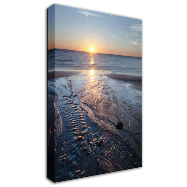 Beach Art Landscape Photography - Low Tide Ravine on Beach at Sunrise - Fine Art Canvas - Home Decor Unframed Wall Art Prints