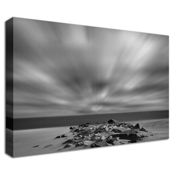 Windy Beach Black & White Landscape Photos Fine Art Canvas & Unframed Wall Art Prints - PIPAFINEART