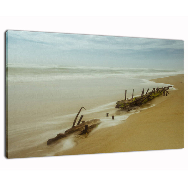 Art Wall Decor Landscape Photography - Misty Shipwreck on the Beach - Fine Art Canvas Gallery Wrap - Home Decor Unframed Wall Art Prints