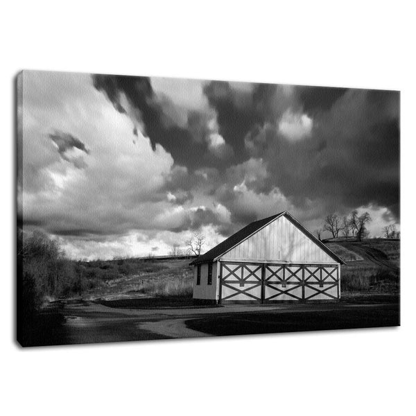 Rural Landscape Photograph Aging Barn in the Morning Sun in Black and White - Fine Art Canvas - Home Decor Wall Art Prints Unframed - PIPAFINEART