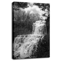 Rural Black and White Landscape Photograph Chittenango Water Fall in Black and White - Fine Art Canvas - Home Decor Wall Art Prints Unframed