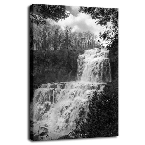 Chittenango Waterfall in Black and White Fine Art Canvas Wall Art Prints  - PIPAFINEART