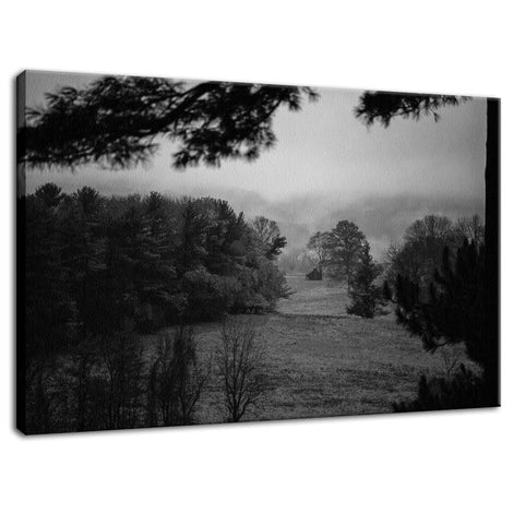 Mist of Valley Forge in Black and White Rural Fine Art Canvas Wall Art Prints