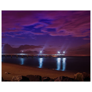Night Photography The Pier at Woodland Beach - Coastal Landscape Fine Art Canvas - Home Decor Wall Art Prints Unframed