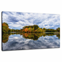 Nature Landscape Photography - Autumn Foliage and Cloud Reflections on Pond - Fine Art Canvas - Home Decor Unframed Wall Art Prints