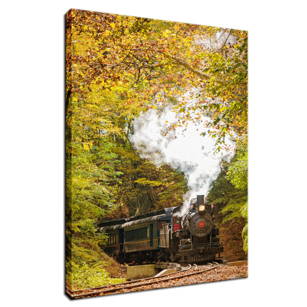 Nature Landscape Photography - Steam Train with Autumn Foliage - Fine Art Canvas Gallery Wrap - Home Decor Unframed Wall Art Prints
