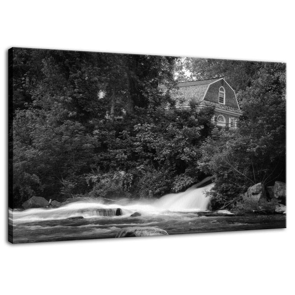 Brandywine River and First Presbyterian Church B and W - Fine Art Canvas Gallery Wrap - Home Decor Unframed Wall Art Prints