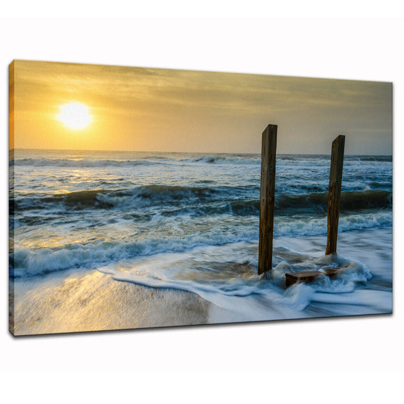 Sunrise Beach Art Wall Decor Landscape Photography - Kissed by the Sea - Fine Art Canvas Gallery Wrap - Home Decor Unframed Wall Art Prints