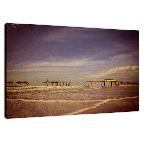 Coastal Landscape Photograph Aged View of Frisco Pier Beach Art - Fine Art Canvas - Home Decor Wall Art Prints Unframed