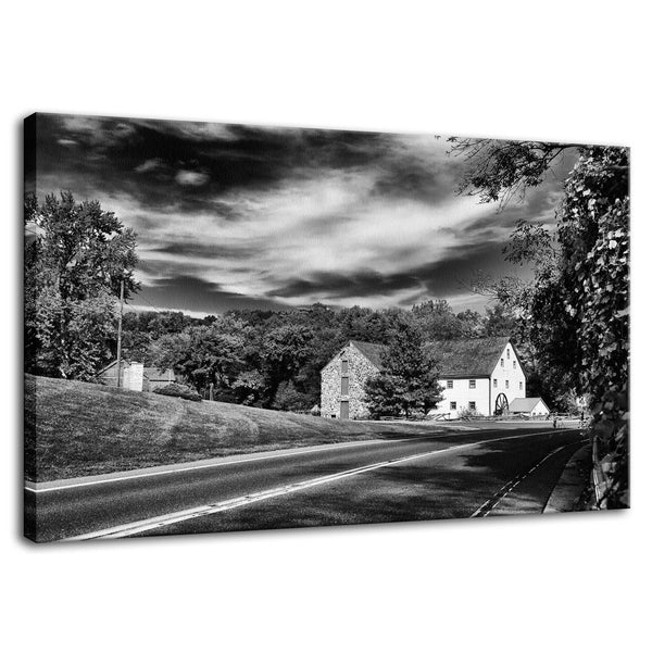 Rural Landscape Photograph Greenbank Mill Summer in Black and White - Fine Art Canvas - Home Decor Wall Art Prints Unframed - PIPAFINEART
