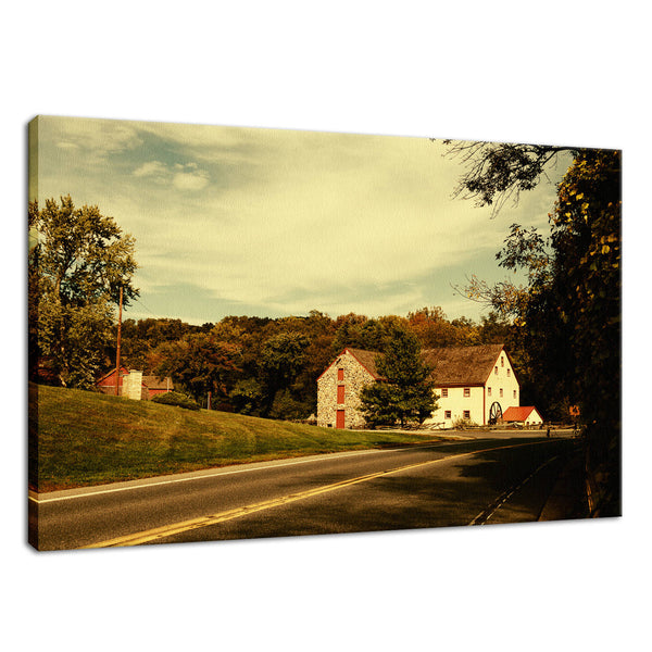 Greenbank Mill Summer Colorized Fine Art Canvas Wall Art Prints Rural / Farmhouse / Country Style Landscape Scene