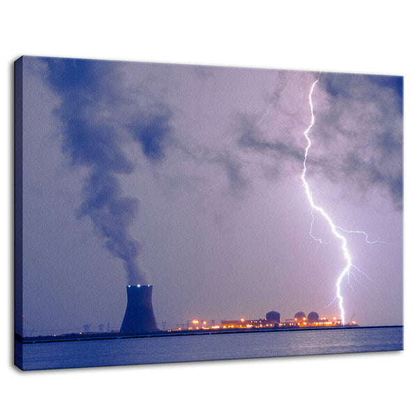 Lightning and Salem Power Plant 2 Rural Landscape Photo Fine Art Canvas Prints & Unframed Wall Art Prints - PIPAFINEART