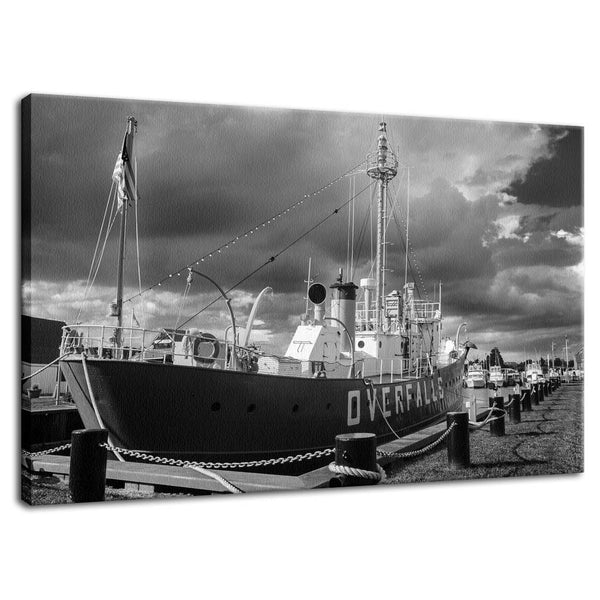 Overfalls Lightship Lewes Black and White Fine Art Canvas Wall Art Prints  - PIPAFINEART