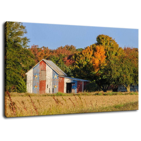 Rural Landscape Photograph Patriotic Barn in Field - Fine Art Canvas - Home Decor Wall Art Prints Unframed - PIPAFINEART