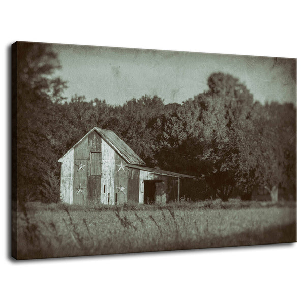 Rural Landscape Photo Patriotic Barn in Field Vintage Black and White Glass Plate - Fine Art Canvas - Home Decor Wall Art Prints Unframed - PIPAFINEART