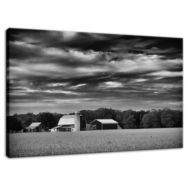 Rural Landscape Photograph Red Barn in Golden Field Black and White - Fine Art Canvas - Home Decor Wall Art Prints Unframed - PIPAFINEART