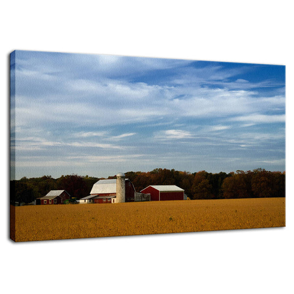 Rural Landscape Photograph Red Barn in Golden Field  - Fine Art Canvas Prints - Home Decor Wall Art Prints - PIPAFINEART