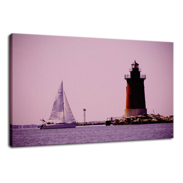 Sailing in the Bay Beach Coastal Landscape Photo Fine Art Canvas & Unframed Wall Art Prints - PIPAFINEART