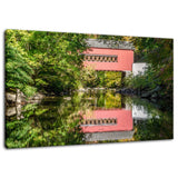 Rural Landscape Photograph The Reflection of Wooddale Covered Bridge - Fine Art Canvas - Home Decor Wall Art Prints Unframed