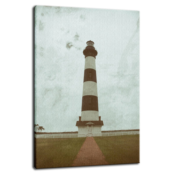 Aged Bodie Lighthouse Glass Plate Effect Coastal Landscape Photo Fine Art Canvas Wall Art Prints  - PIPAFINEART