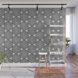 Hypnotic Black and White Circle Pattern - Adhesive Wallpaper - Removable Wallpaper - Wall Sticker - Full Size Wall Mural  - PIPAFINEART