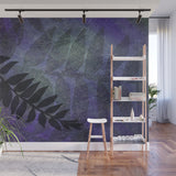 Purple Grunge with Foliage - Adhesive Wallpaper - Removable Wallpaper - Wall Sticker - Full Size Wall Mural
