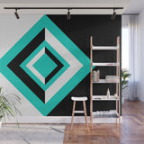 Teal, Black, and White Geometric Shapes - Adhesive Wallpaper - Removable Wallpaper - Wall Sticker - Full Size Wall Mural