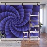 Nautilus Purple Swirl Digital Wall Art - Adhesive Wallpaper - Removable Wallpaper - Wall Sticker - Full Size Wall Mural